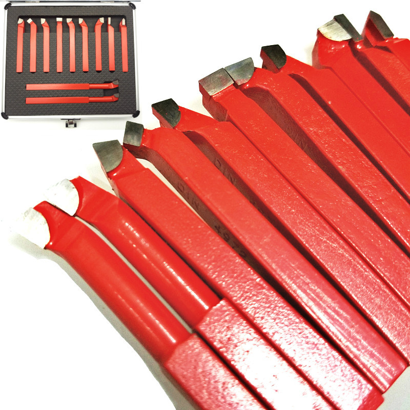 11Pcs 8*8mm Red Welding Turning Tool Holder Carbide Tip Tipped Bit Set Brazed Milling Cutter Tools For Metal CNC Lathe