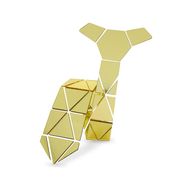 GEOMETIE Handmade Gold Triangle Diamond Shape Necktie with Luxurious Gift Box for Business Formal dressing Wedding
