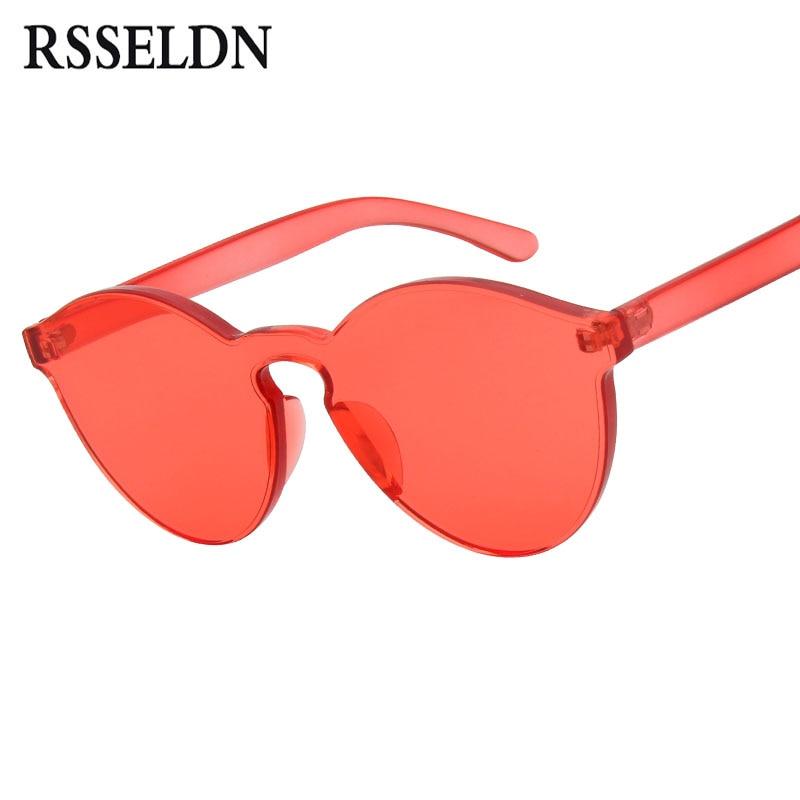 Rsseldn круглые одна часть линзы солнцезащитные очки женские прозрачные пластиковые очки мужские стиль солнцезащитные очки прозрачные конфеты цвет бренда дизайнер женщины очки от солнца