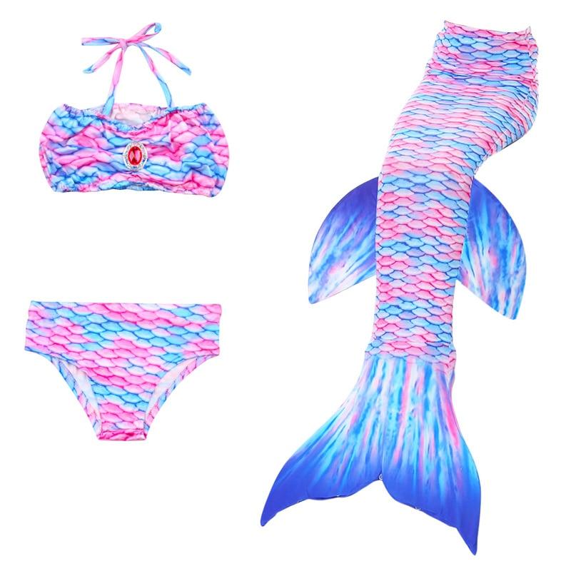 New 4Pcs Girl's Mermaid Tails For Swimming Costume with Monofin Kid Zeemeerminstaart Cola De Sirena Cauda De Sereia Cosplay