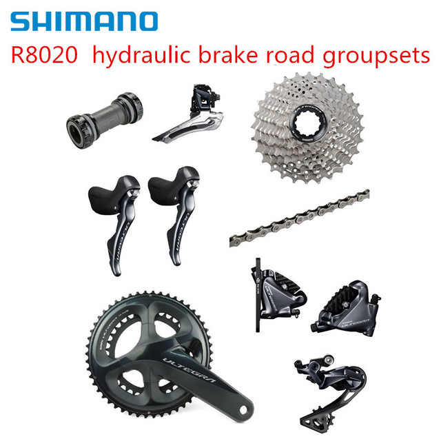 US $889 11 11% OFF|Shimano Ultegra R8020 2 x 11 Speed Hydraulic Disc Brake  Groupset Build Kit Derailleurs ROAD Bicycle R8070-in Bicycle Crank &