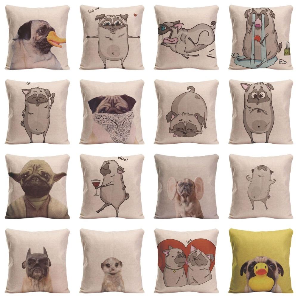 만화 동물 쿠션 커버 귀여운 퍼그 개 홈 장식 던져 - 홈 섬유 - 사진 2