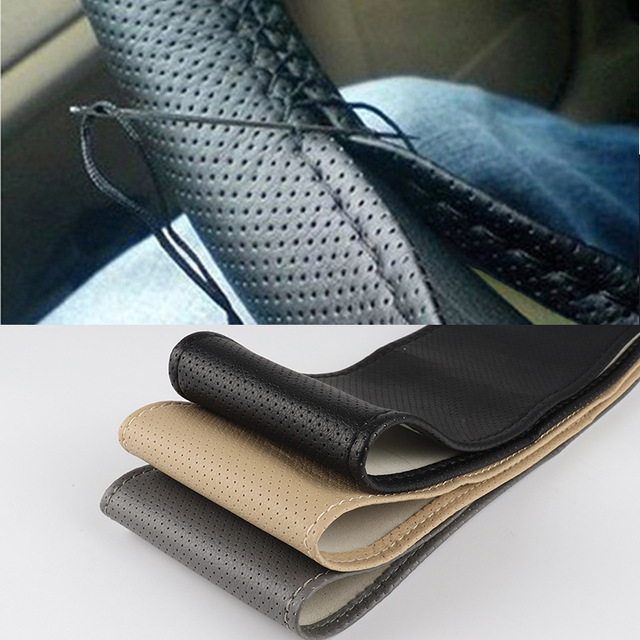 DIY Steering Wheel Covers 38cm Soft Artificial Leather Car Braid On steering wheel with Needle and Thread Interior Accessories