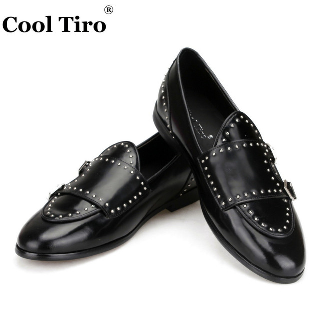 ae060392ce0f Double Buckle Loafers Men s Flats Moccasins Slippers Golden Studs Casual  Shoes Wedding party Dress Shoes Black Calfskin Leather