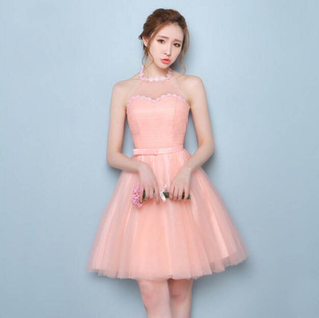 Robe De Soire Sexy Peach Women Halter Dress Bridesmaid Short Cheap Party Dresses  For Teens Wedding And Events Under 50 S3628 In Bridesmaid Dresses From ...