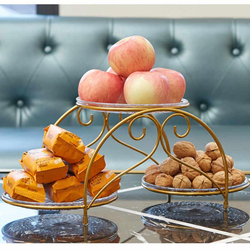 Kreatif Multi-Lapisan Piring Buah Besi Tempa Rumah Ruang Tamu Kamar Buah Kering Snack Kue Dessert Display Stand Rak Penyimpanan mx42217