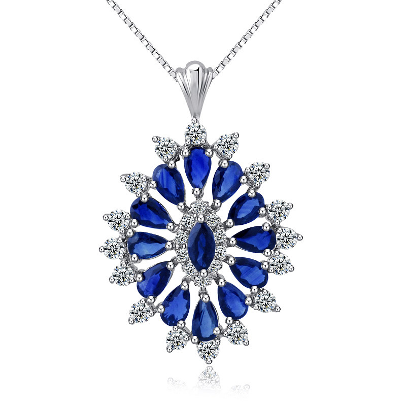 Blue Natural Sapphire Micro Setting Oval Gift 925 Sterling Silver Pendant