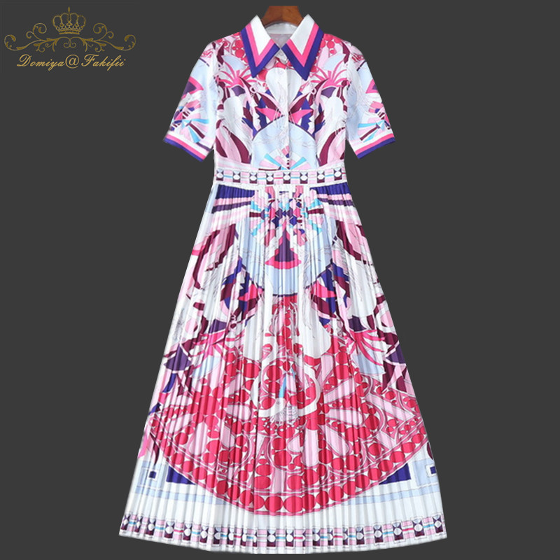 Family Clothing 2018 New Brand High End Fashion Women Pattern Print Party Pleated Dress Girl Summer Casual Elegant Beach Dress sun flower print pleated dress