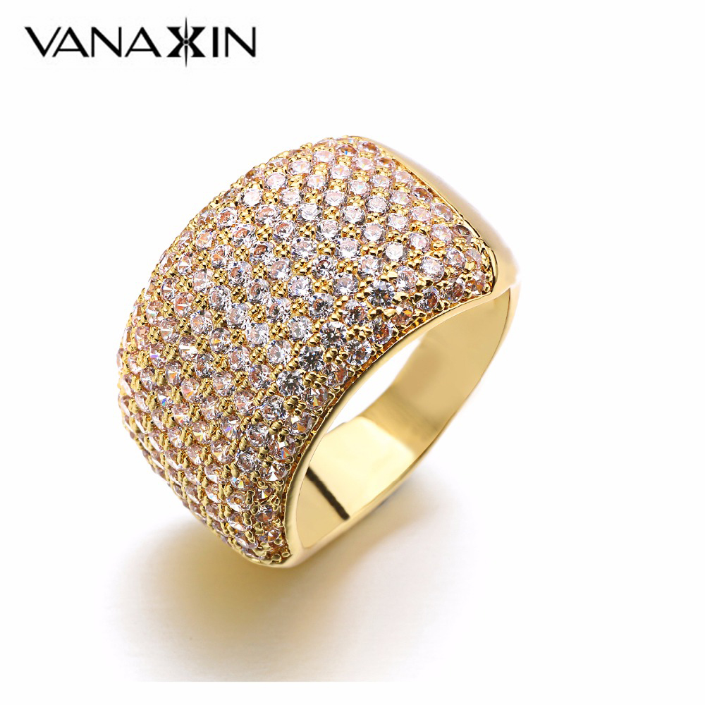 VANAXIN Crystal Rings for Women Trendy Silver Rose Gold Color Female Ring 172 Pieces AAA CZ