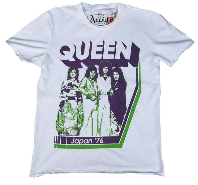 61ac20f65b Vintage Amplified Official Queen Japanese 76 Freddie Mercury Star Vip T- Shirt 100% Cotton Short Sleeve Summer T Shirt