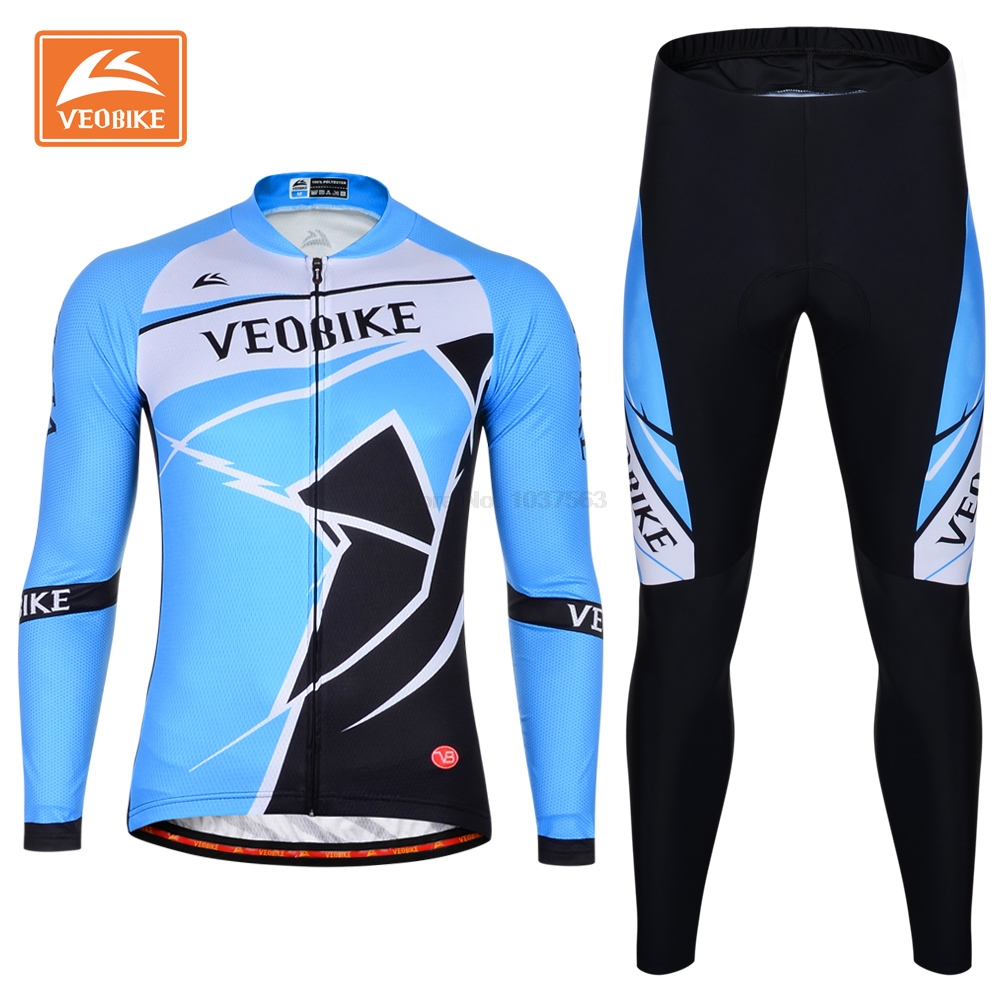 VEOBIKE Pro Bike Clothing Men Long Sleeve Cycling Jersey Set Ropa Ciclismo Breathable Quick Dry Bicycle Jersey Pants 4D Gel Pad