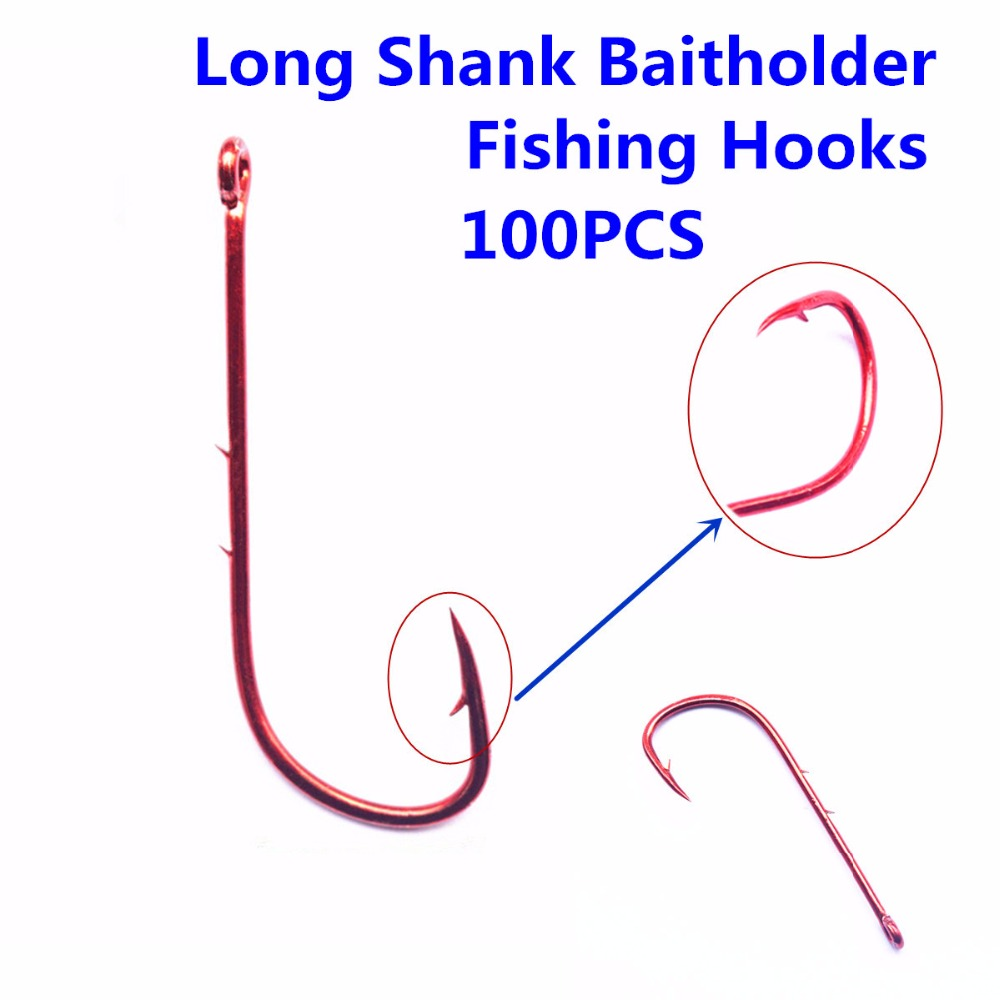 100pcs  High Carbon Steel Long Shank Baitholder Fishing Hooks 9293 Chemically Sharpened with Free Shipping offset fishhooks