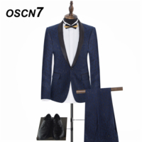 OSCN7 шаль лацканы вечерние принт Индивидуальные костюмы Для мужчин брендовая одежда высокого класса жениха торжественное платье костюм Для