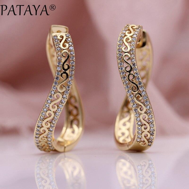 PATAYA Neue Einzigartige Welle Großen Kreis Ohrringe Frauen Mode Schmuck 585 Rose Gold Micro Wachs Inlay Natürliche Zirkon Lange ohrringe