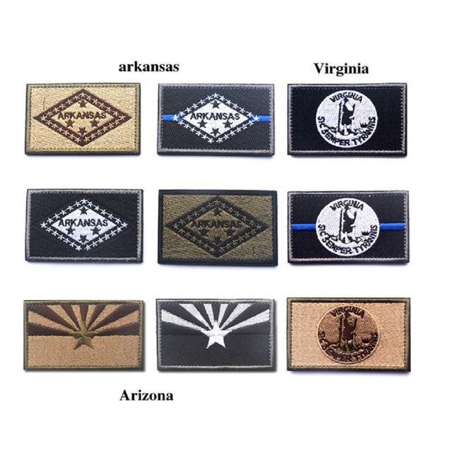 ten piece a lot 3d embroidery patches the united states arkansas