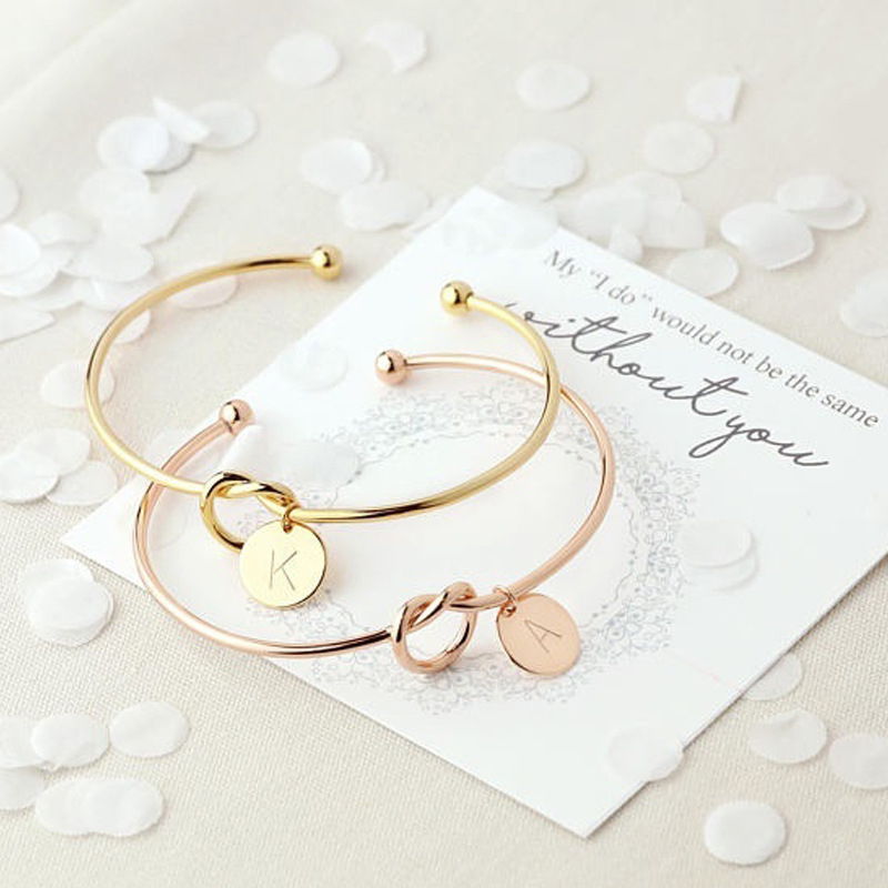 2019 New Fashion Hot Rose Gold/Silver Alloy Letter Bracelet Snake Chain Charm Bracelet Female Personality Jewelry gifts