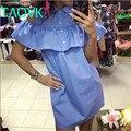 TAOVK 2016 новая мода Русский стиль женщины Платья Синий твердые рукавов бабочка рукав с раффлед образным вырезом платья