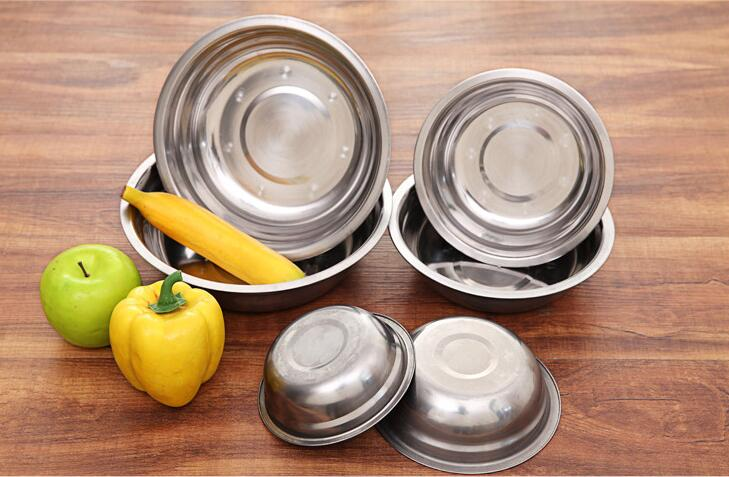 1PC New 6 Size Stainless Steel Soup Bowls Multi-function Round Soup Pot Soup Palte Dishes Kitchen Tools LF 133
