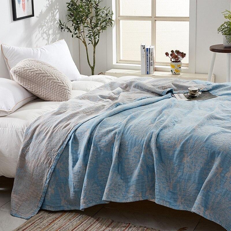 ZDFURS * doux confortable 100% coton mousseline couverture adulte enfants bambin été couette lit couverture Twin 150x200 cm complet 200x230 cm