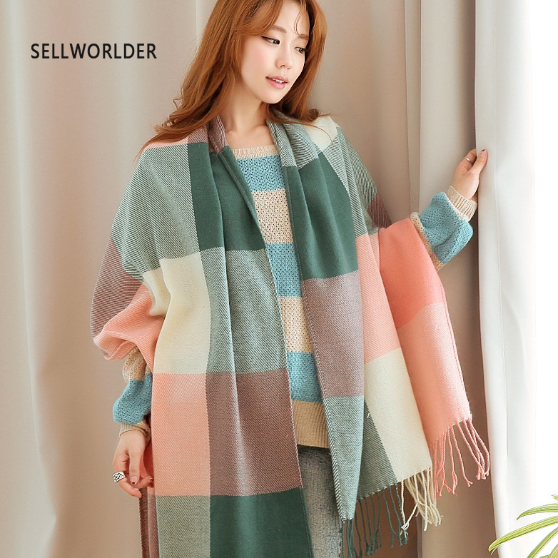 SELLWORLDER  Women Winter Scarf Girls Long Size Grid Patchwork Pattern Scarves & Wraps Fashion Accessories
