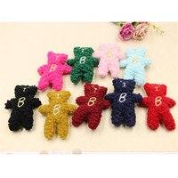 Free Shipping 20PCs Lot Wool Felt Handmade Button Patch Sticker Craft Kawaii Animal Bear Shape Doll
