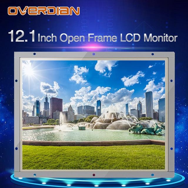 """12 """"인치 디스플레이 1400*1050 산업용 LCD 모니터 VGA/DVI/USB 인터페이스 고해상도 금속 쉘 쿨 저항 터치 스크린"""