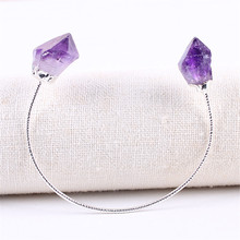 Bracelets & Bangles With Natural Crystal Amethysts Citrines Stones Gold Color Bracelet Femme for Women Jewelry Purple