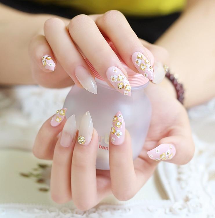 High Quality Short False Nails Anese 3d Nail Tips Gloden Flower Fresh Pink Sti