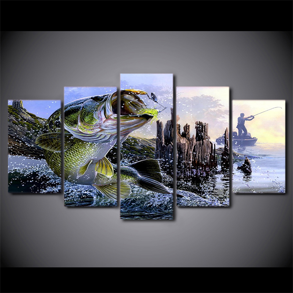 5 Pcs Set Framed Hd Printed Largemouth Bass Fishing Wall Canvas Art Modern Print Painting Poster Picture For Home Decor
