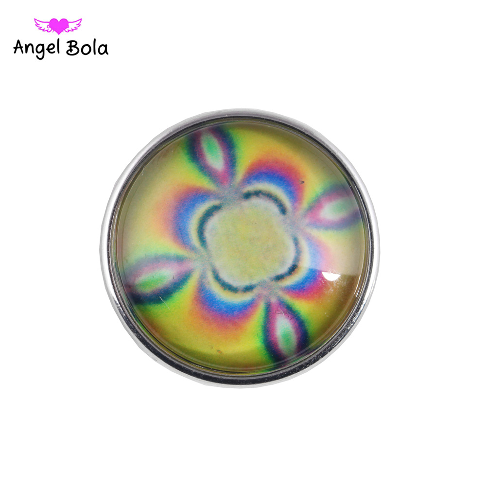 Snap Button Colorful Round Glass 18MM Snap Button Fit Ginger Snap Bracelet&Bangle Women DIY Snap Jewelry NK002-146