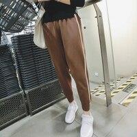 Кожаные штаны MID Новый ограниченной Lulu Леггинсы для женщин 2017 зимние брюки Вязание девять минут эластичный пояс Гарун Парадное, тонкое из