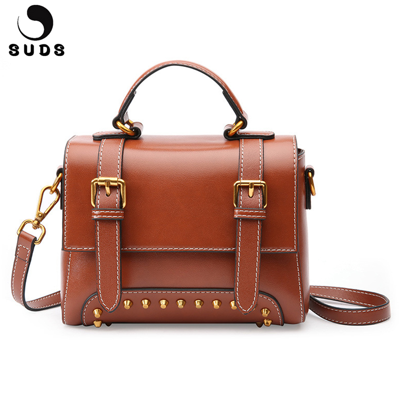 SUDS Brand Vintage Genuine Leather Bags Women Rivet Large Capacity Flap Handbags High Quality Cow Leather Women Messenger Bags suds brand women casual 100