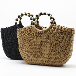 Black Bead Top-handle Handbags Women Straw Bags Ladies Summer Beach Bags For Holiday Half Moon Weaving Clutch Bags Bolso Female