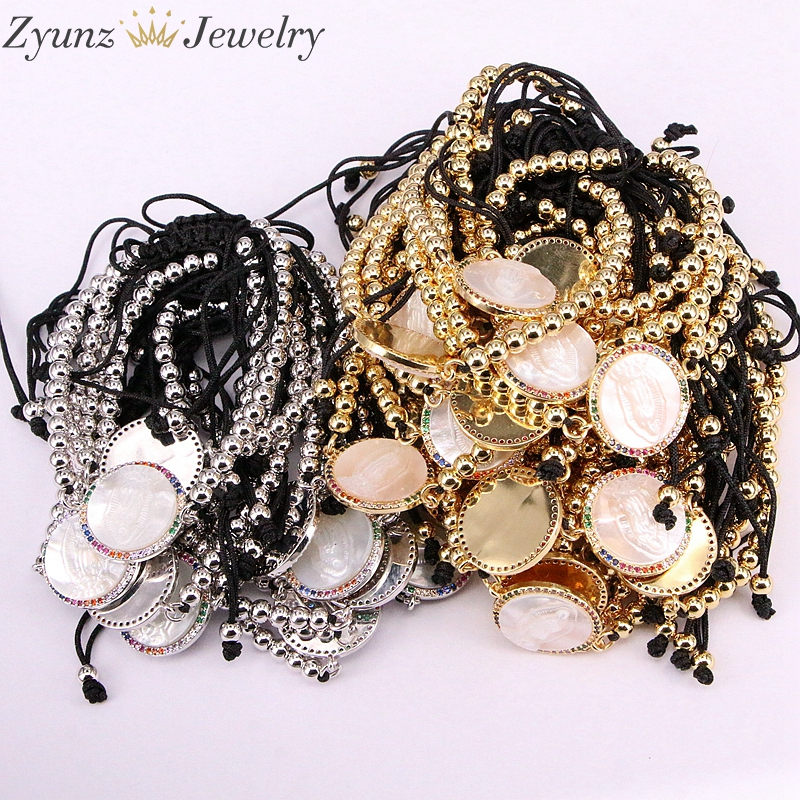 5PCS, Micro Pave CZ Virgin Maria Mother of Pearl Shell Bracelet Adjustable Link Bracelet Women Jewelry-in Charm Bracelets from Jewelry & Accessories