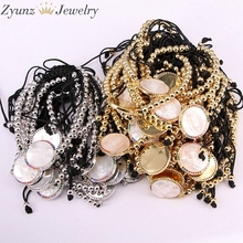 5PCS, Micro Pave CZ Virgin Maria Mother of Pearl Shell Bracelet Adjustable Link Bracelet Women Jewelry