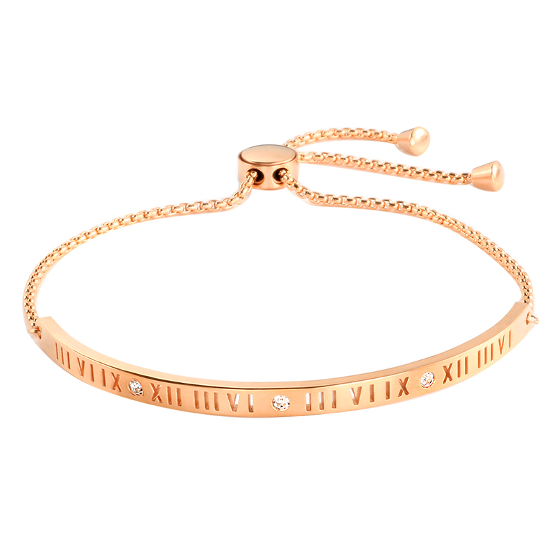 Rose Gold Color Charming Bangle Bracelet For Woman Stainless Steel Roman Letter CZ Chain Wristband Luxury Brand Jewellery Gift