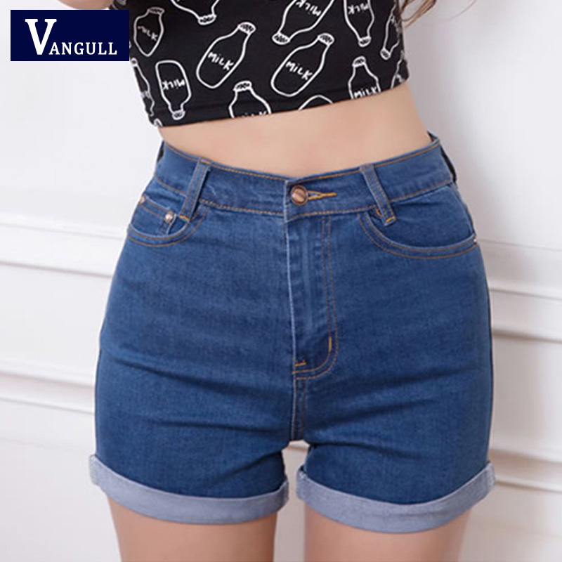 Casual 2016 New Korean Style Summer Vintage High Waisted Denim Women   Shorts   Solid Slim Stretch Turn Ups Female Jeans   Shorts