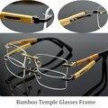 Pure titanium anteojos sin montura hombres gafas de marcos de madera de bambú