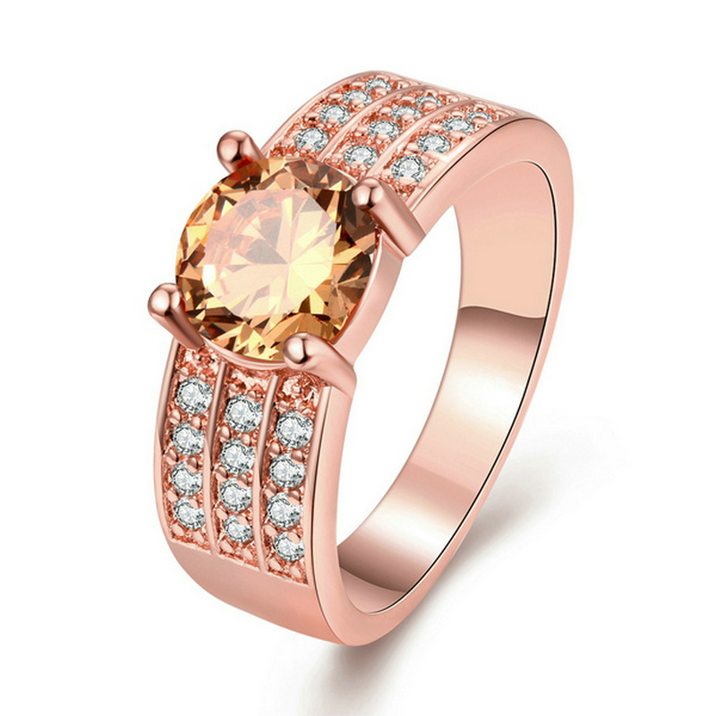 Luxury Rose Gold Color Round &Three Rows Finger Ring For Women Ladies With AAA+ Cabic Zirconia Wedding Jewelry