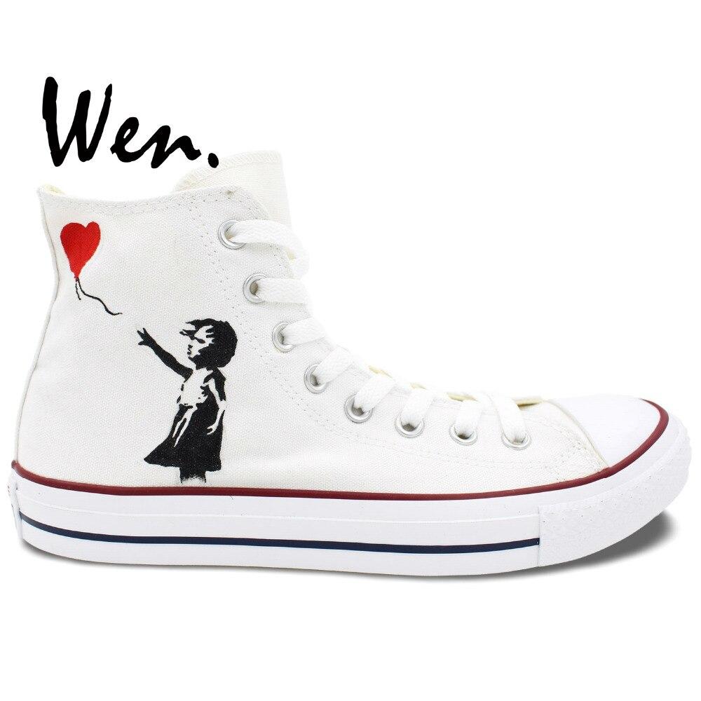 Wen Original blanc peint à la main chaussures Design personnalisé ballon rouge une petite fille haut toile baskets pour hommes femmes
