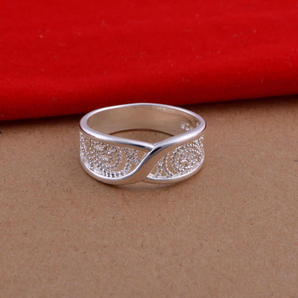 แหวนดอกไม้ Hollow High - end แฟชั่นสานรูปแบบเครื่องประดับแหวนเงินสำหรับผู้หญิง 2019 ใหม่ Drop Shipping