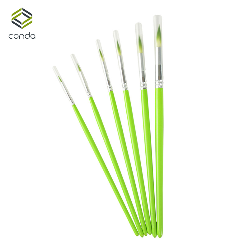Conda 6Pc Artists Paint Brush Set Wood Handle Short Miniature Detail Soft Acrylic Watercolor Brush Oil Drawing Round Pointed Tip