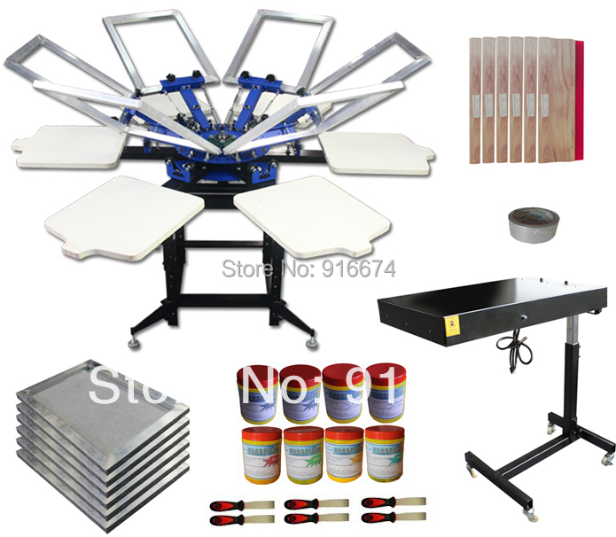 FAST FREE shipping 6 color 6 station silk screen printing kit t shirt printer press equipment frame plastisol ink squeegee