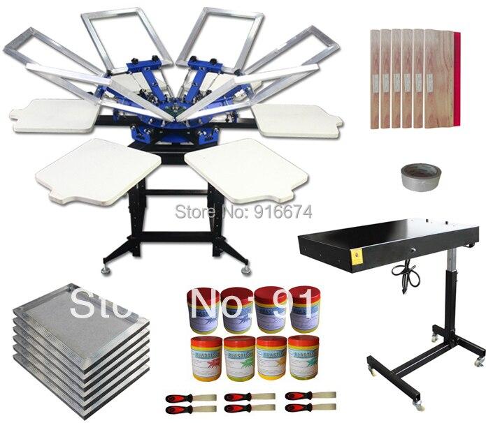 Livraison gratuite rapide 6 couleur 6 station sérigraphie kit t-shirt imprimante presse équipement cadre plastisol encre raclette