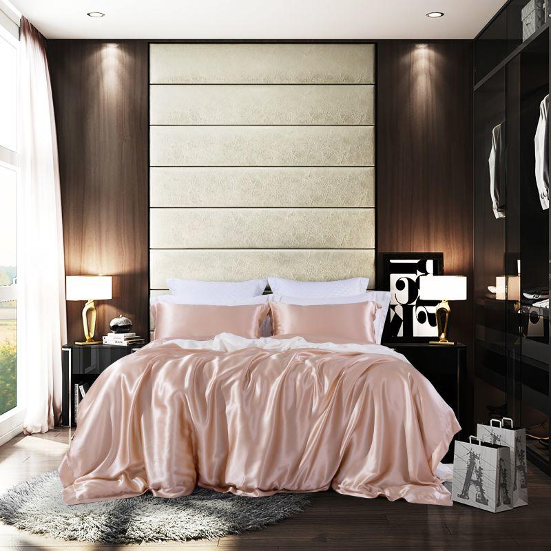 Red Blue 4-Pcs Premium 100%Mulberry Silk Bedding Set Luxury Ultra-Soft Bed Sheet Set Queen Size King Duvet Cover Pillow Shams