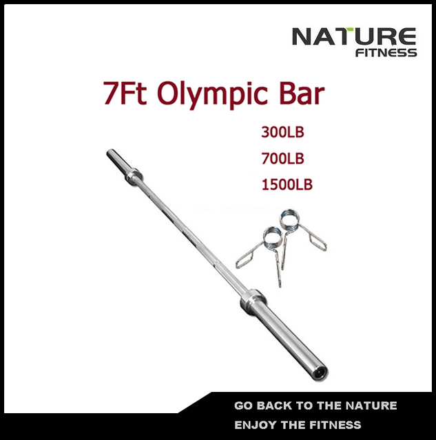7ft 700lb Straight Barbell Bar With Spring Collars For Weight Lifting Strength Training Free Shipping