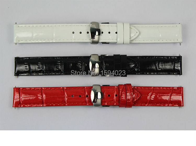 16mm (Buckle16mm) T050217A High Quality Silver Butterfly Buckle + Black White Red Genuine Leather Watch Bands Strap