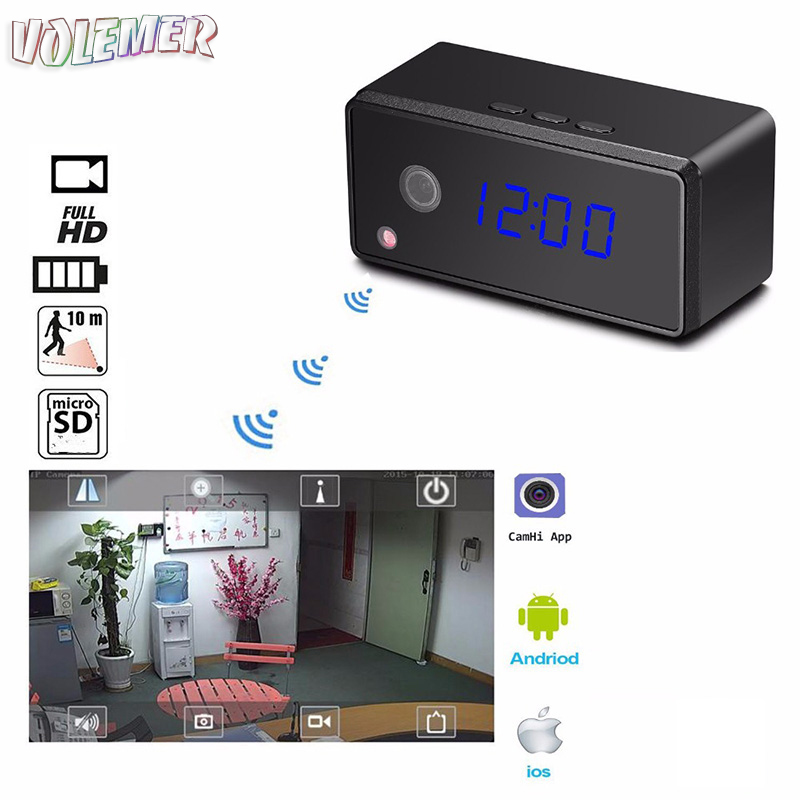 Volemer T7 wifi Mini Camera Clock HD 1080P H.264 Micro Cam Alarm Setting Infrared Night Vision Mini DV Table Clock Camcorder цена