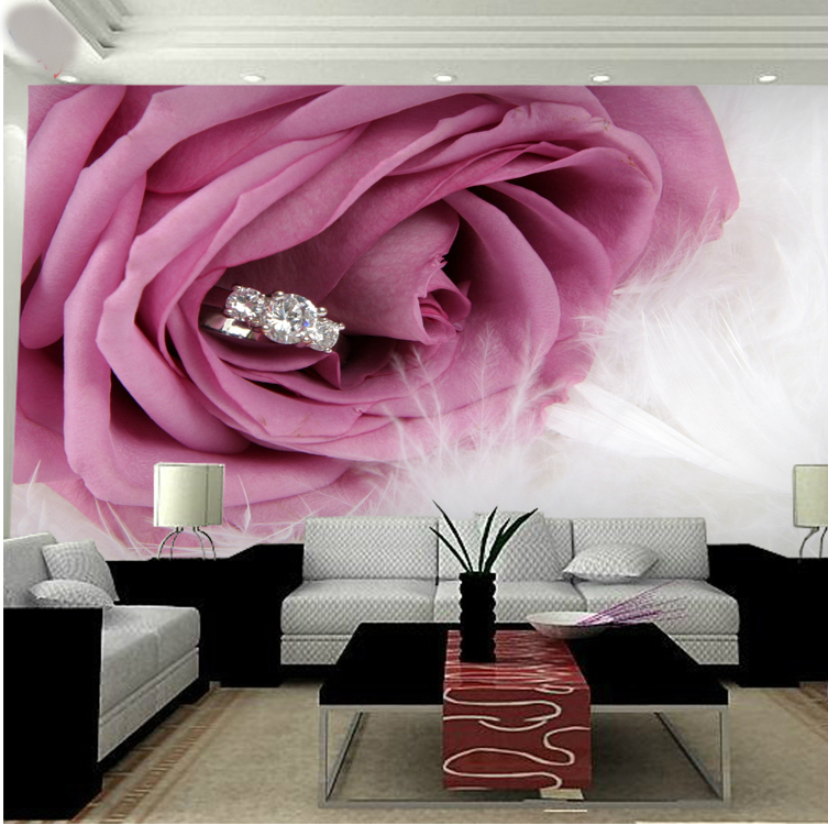 Large Romantic Pink Rose 5d Papel Flower Mural Diamond Feather 3d Photo Murals Wallpaper for Bedroom Background 3d Wall Mural vander 8pcs professional rose pink
