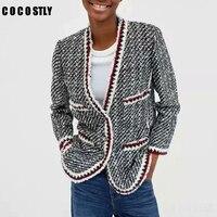 Women Vintage Tweed Jackets Autumn Winter Woolen Pockets Short Female Coats Office Ladies Elegant Long Sleeve Casual Outerwear